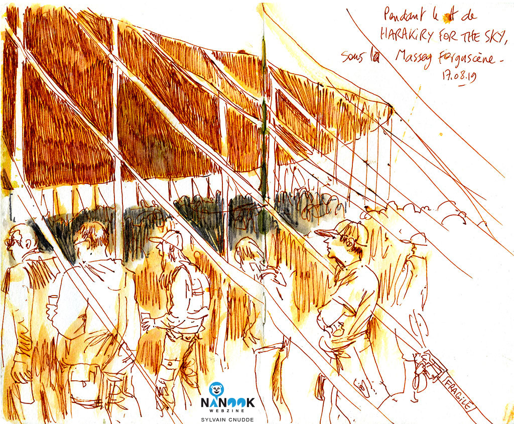 Public-festivaliers-concert-chapiteau-Harakiri-For-The-Sky-motocultor-2019-nanook-webzine-report-article-sylvain-cnudde-dessins-direct-live-croquis